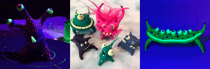 PJ Halliwill ceramic and polymer clay monsters